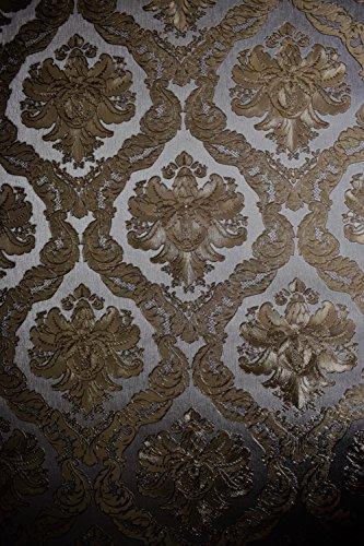 Vinyl Tapete Barock Retro # silber/gold # Fujia Decoration # 22915