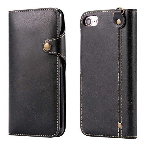 """MOONCASE iPhone 7 Coque, Card Slots Faux Cuir Flip Portefeuille Housse Flexible TPU Antichoc Protection Étuis Case pour iPhone 7 4.7"""" Kaki Noir"""