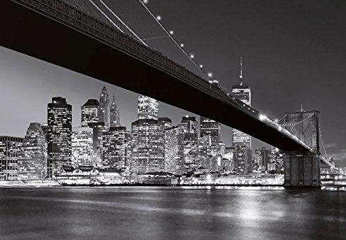 1art1 New York - Brooklyn Bridge NY, 8 Teilig Fototapete Poster-Tapete 368 x 254 cm