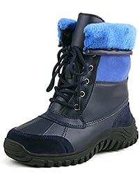 Shenduo Zapatos Invierno - Botas de Nieve de Cuero Impermeables Forrados Clásicos con Cordones para Mujer DA5469