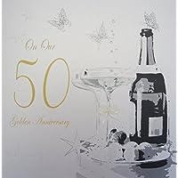 "white cotton cards tamaño grande ""diseño de copas de aniversario de boda, hecho a mano 50th Anniversary"" tarjeta de"