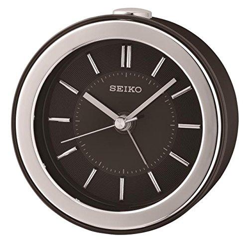 Seiko QHE156K Piepton Uhr mit blinkendem LED-Wecker, 10,3 x 10,5 x 6,2 cm, Schwarz