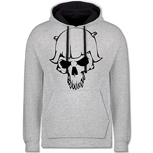 Piraten & Totenkopf - Totenkopf - Kontrast Hoodie Grau meliert/Dunkelblau
