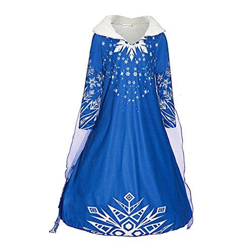 ReliBeauty Mädchen Kleid Prinzessin Elsa Kostüm Eiskönigin V-Ausschnitt Pelzkragen Langarm Schneeflocken Umhang, Blau, 130-140(Etikett 140)