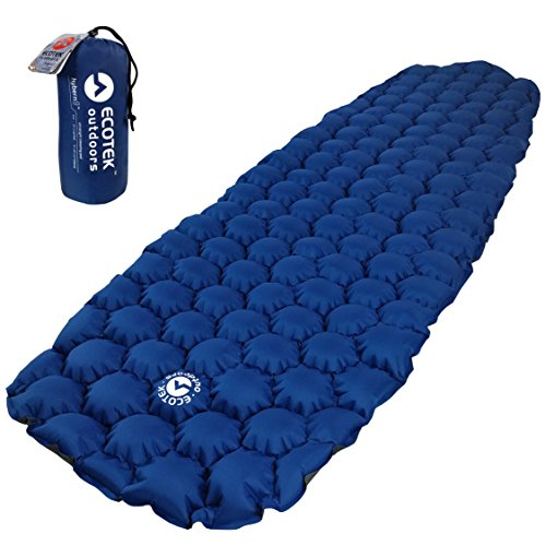 EcoTek Outdoors Hybern8 Ultralight Inflatable Sleeping Pad for Hiking Backpacking and Camping - Contoured FlexCell Design - Perfect for Sleeping Bags and Hammocks (Ocean Blue)
