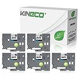 Kineco 5 Schriftbänder kompatibel für Brother TZE-221 9mm/8m - Schwarz auf Weiß P-Touch 1000 1010 1080 1090 1200 1200P 1230PC 1250 1280 1290 1750 1800 1850 200 220 2400 2450 2460 2470 2480 300 310