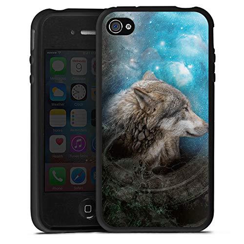 DeinDesign Silikon Hülle kompatibel mit Apple iPhone 4s Case Schutzhülle Wolf Tiere Hund (Silikon Hülle 4s Iphone Hund)