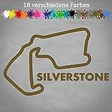 Silverstone Aufkleber 18x12cm Rennstrecke Formel 1 F1 GP Circuit England Layout in 18 Farben