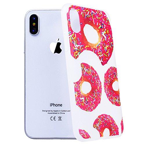 Cover iPhone X, SMART LEGEND Custodia iPhone X Case TPU Silicone Semi Frosted Opaca Trasparente Ultra Slim Gomma Morbido Gel Bumper, Soft Caso Flessibile Protettiva Antiurto Shock Cover - Crisantemo 1 Donuts