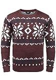 !Solid Norwig Herren Weihnachtspullover Norweger-Pullover Winter Strickpullover Grobstrick Pullover mit Rundhalsausschnitt, Größe:XL, Farbe:Wine Red Melange (8985)
