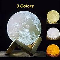 Impresión 3d lampara luna - 15cm recargable patrón de superficie lunar lampara luna llena con la carga del USB y 3 colores que cambian,lampara forma luna para los regalos de cumpleaños de los niños y el regalo de la Navidad de los amigos