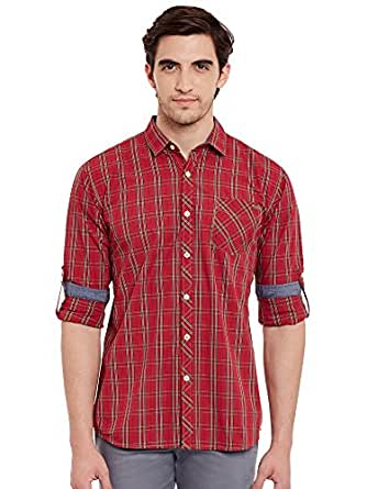 LA Seven Multi Color Checked Full Sleeves Slimfit Casual Shirt