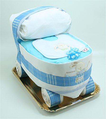 Torta di Pannolini Chicco Carrozzina Azzurra