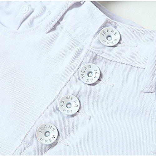 Baymate Femmes Casual Shorts Taille Haute Délavé Bouton Design Denim Jeans Court Blanc 2
