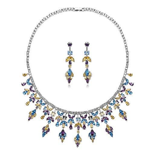 Epinki Plaqué Argent Ensemble de Bijoux Strass Mariage, Feuille CZ Cristal Collier et Boucles D'Oreilles 3 Couleurs Jaune Violet Bleu