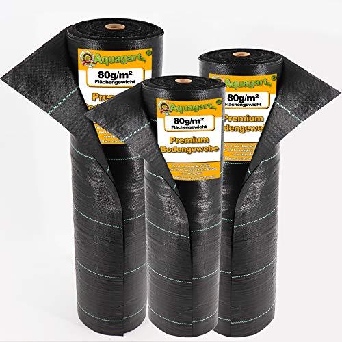aquagart i - telo anti-erbacce resistente in tessuto non tessuto, 150 x 2 m, 80 g/m2, per il giardino