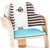 Herlag Sitzpolster für Tipp Topp Comfort und Comfort IV Hochstuhl - Stuhlkissen für Kinder - bequeme Sitzauflage - Farbe: Braun und Beige gestreift
