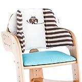 Herlag Sitzpolster für Tipp Topp Comfort IV Hochstuhl - Stuhlkissen für Kinder mit Eulenmotiv - bequeme & abwaschbare Sitzauflage - aus Baumwolle - braun, beige & blau