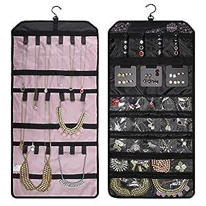 BAGSMART Doppelseitiger Schmuckorganizer zum Aufhängen für Ohrringe, Halsketten, Ringe