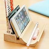 uooom Holz Multifunktions Schreibtisch Organizer Handy Ständer Visitenkarten Aufbewahrung Box Stifthalter