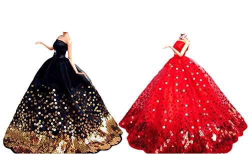 Ourkosmos® splendida partito handmade abito vestiti & abiti da sposa accessori bambola doll-2pcs (black & red)