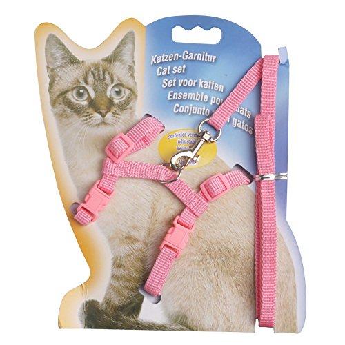 iEFiEL Katzen Garnitur Kätzchen Halsband Katzenleine Klein Haustier Kleine Hunde Katzengeschirr Harness (Rosa)