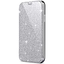ec78b1f3eb8e09 Felfy Kompatibel mit Hülle Samsung Galaxy S8 Handyhülle Silber Glitzer  Glänzend Glitzer Kristall Überzug PU Lederhülle