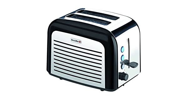 Black NEW Waring 2-Slice Toaster WT200BKU Polished Stainless Steel