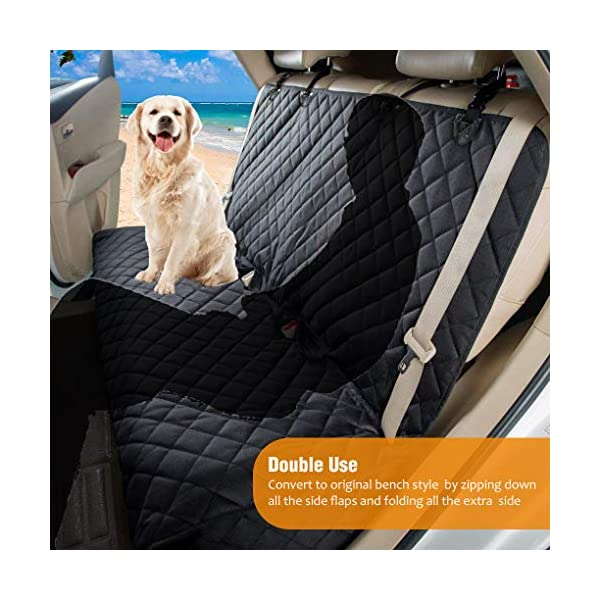 AMZPET Dog Car Seat Cover for Dogs, Waterproof with Door Protection, Durable Nonslip Scratch Proof Washable Pet Back Seat Cover. 3-in-1 Car Seat Protector, Boot Liner, Dog Travel Hammock for all Cars 4