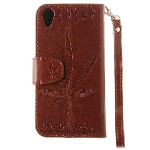 YHUISEN Geprägte Maple Leaf Design PU-Leder Flip Wallet Stand Case mit Kartensteckplatz für HTC Desire 626 / 626s ( Color : Black ) Brown