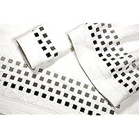Juego de Toallas Bordadas Cuadros 3 piezas 550gr SQUARES 3P. Nº10 (Blanca)