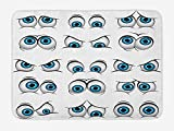 ARTOPB Eye Bath Mat, Cartoon Style Eyes Various Different Expressions Emoticons Humorous Funny, Plush Bathroom Decor Mat with Non Slip Backing, 23.6 W X 15.7 W inches, Pale Blue Black White