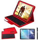 Custodia Galaxy Tab S2 9.7 Bluetooth Tastiera con screen protector & stylus, REAL-EAGLE Pelle PU Custodia con Wireless Staccabile Keyboard per Samsung Galaxy Tab S2 9.7 SM-T810 T813 T815 T819, Red