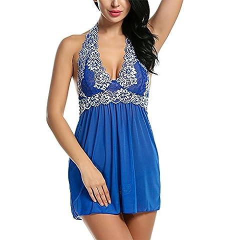 HXQ Femmes Dentelle Poupée Vêtements de nuit Licou Lingerie , blue , s