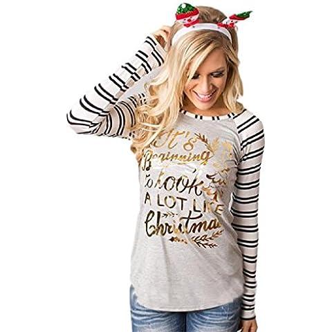 OverDose De cuello redondo Mujeres raya de la moda de algodón de manga larga Casual Tops