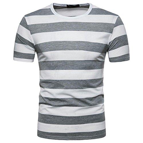 Ningsun_uomo ningsun cool t-shirt da uomo a manica corta estiva a striscia bianche e nere camicetta top men t-shirt stripe il classico pullover girocollo casual da uomo felpa (grigio, s)