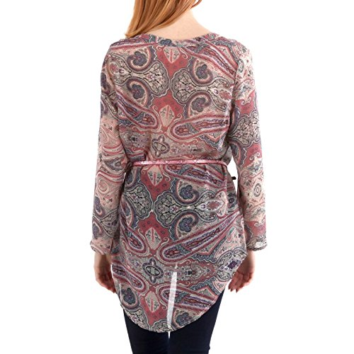 La Modeuse - Tunique ample et fluidedotée d'imprimé oriental et de petits strass à l'avant Rose