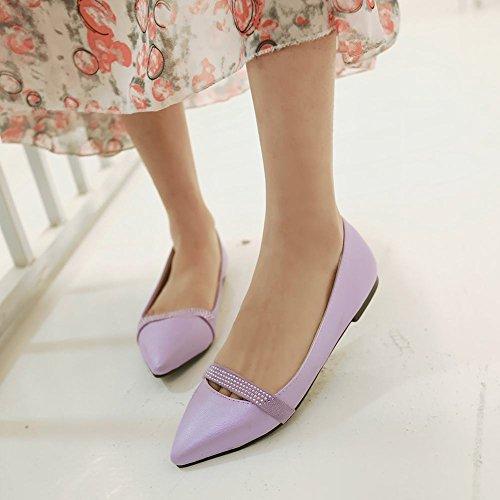 MissSaSa Damen flach Slipper mit Strass süß und bequem Pointed Toe Kleidschuhe Violett