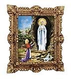 MADE IN ITALY Lourdes - Quadro con Cornice Repro, 45 x 38 cm, Motivo: Madre Vergine Madonna, Madre Dio San Maria Barocco, Effetto Anticato, Colore: Oro
