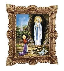 Idea Regalo - MADE IN ITALY Lourdes - Quadro con Cornice Repro, 45 x 38 cm, Motivo: Madre Vergine Madonna, Madre Dio San Maria Barocco, Effetto Anticato, Colore: Oro