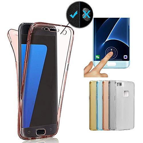 Miagon Full Cover für Huawei P9 Lite,360 Grad Handyhülle für Huawei P9 Lite, Rosa Gold Full Body Silikon Etui Vorne Hinten Rundum Doppel-Schutz Hülle für Huawei P9 Lite