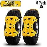 Josechan Auto Schneeketten Universal 6 Stück Anti-Rutsch ketten mit TUV/GS/ONORM V 5117 Fit für die meisten Auto/ SUV/LKW einfach zu installieren