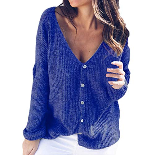 Zegeey Damen Calsual Off Shoulder Button Reversible Cardigan Solid Knitting Blouse Karneval Fasching Fasnacht ()