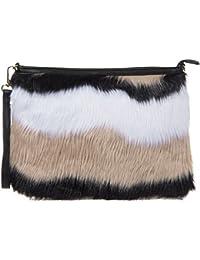 Haute For Diva s Womens Large Soft Faux Fur Multicolour Party Casual  Wristlet Clutch Hand Bag 6b1ddba9982d4