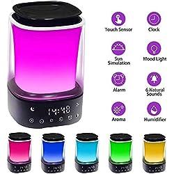 TXOTO Reveil Lumière Lampe Matin, réveil Lever du Soleil Diffuseur d'huiles essentielles diffuseur aromatique avec 8 LED Variables, réveil du Lever du Soleil avec 6 Sons naturels