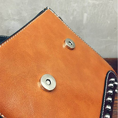 DHFUD Damen PU ​​Schultertasche Handtasche Crossbody Rivet Fashion Red
