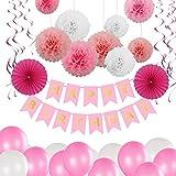 Glittel Geburtstag Party Dekoration Set 40x Deko Zubehör Happy Birthday Banner Grilande mit Seiden Wabenbälle Papierfächer Luftballons Spiralen für Kindergerburtstagsfeier