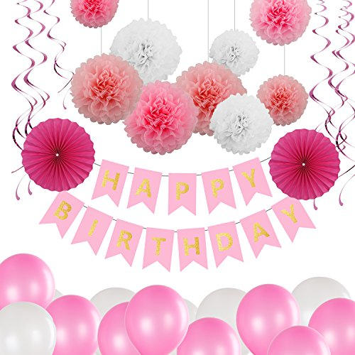 Party-banner (Geburtstag Party Dekoration Set, Bliqniq 43x Deko Zubehör Happy Birthday Banner Grilande mit Seiden Ponpoms Papierfächer und Luftballons Spiralen für Junge und Mächen Kindergerburtstagsfeier, Leicht zusammen Legen)