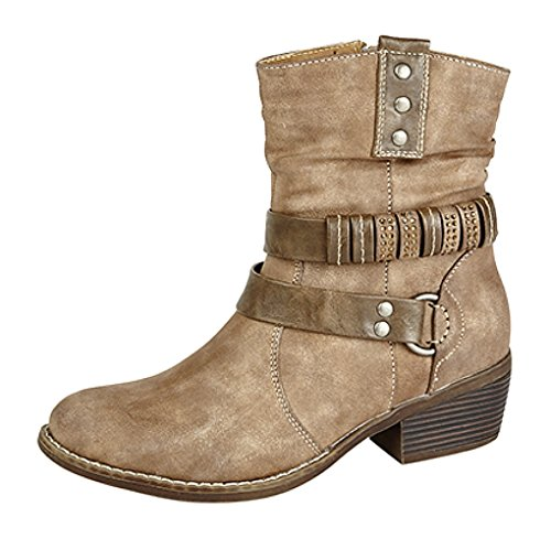 Ladies Zip E Harness Strap Stivali alla Caviglia Distressed Brown