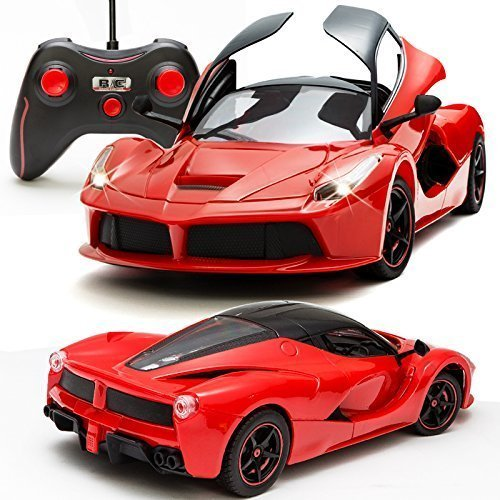 Toyshine Ferrari Remote Control Car, Rechargeable, Opening Doors, Frustration Free Packaging, Red